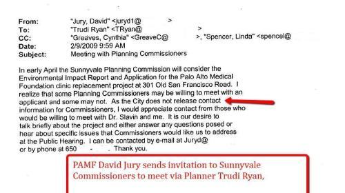 PAMF David Jury sends invitation to meet Sunnyvale Commissioners