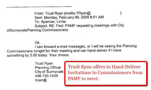 Trudi Ryan offers to Hand Deliver Invites from PAMF to Planning Commissioners