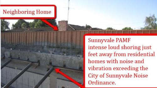 Sunnyvale PAMF Intense Shoring Adjacent to Residential Homes Exceeds City of Sunnyvale Noise Ordinance