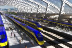 An artist's rendering of the proposed high-speed rail line station_Courtesy LA Times